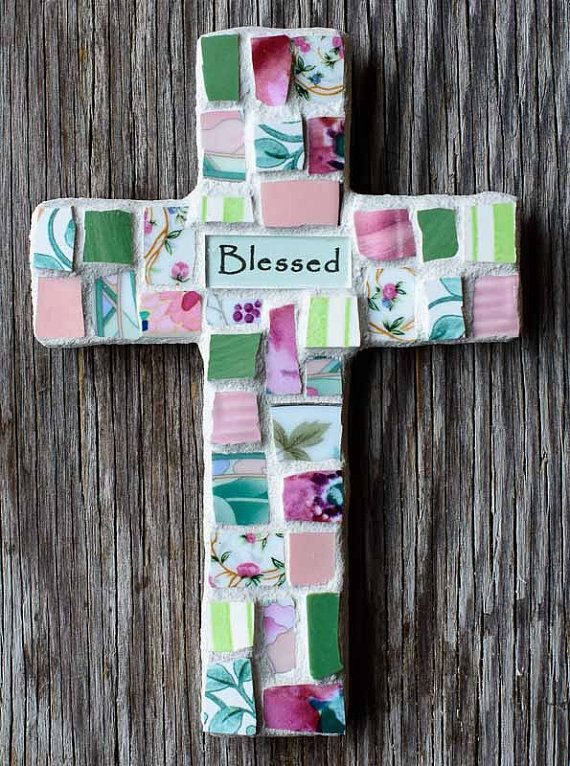 Broken China Mosaic Cross With Custom Sentiment by PeaceByPieceCo