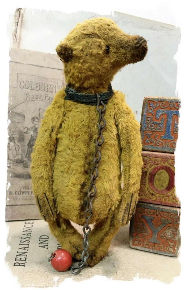 "Image of Antique Style - 8"" Old Classic Simple Bear with Pouty Face * By Whendi's Bears"