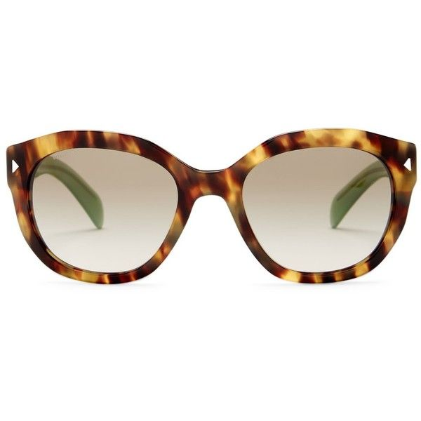 Prada Women's Retro Sunglasses ($100) ❤ liked on Polyvore featuring accessories, eyewear, sunglasses, spotted brown green, brown sunglasses, brown gradient sunglasses, dot sunglasses, nose pads glasses and retro sunglasses