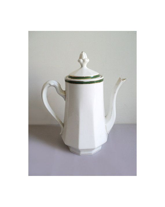 French UC Limoges Teapot Porcelain Coffee pot by LaBelleEpoqueDeco