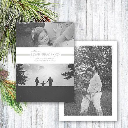 Christmas Card Template, Photoshop Template, Family Christmas Holiday Card, Peace Love Joy Christmas Card for Photographers CC106