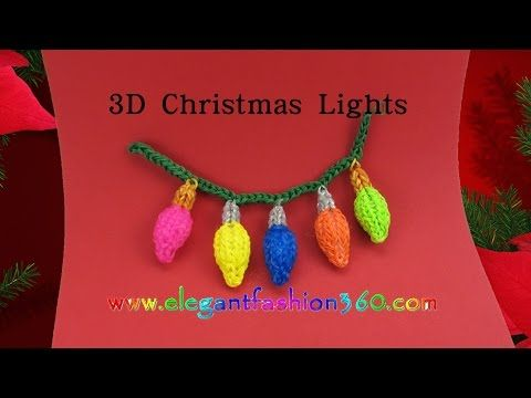 Rainbow Loom Christmas Light 3D Charms - How to Loom Bands Tutorial/Christmas/Holiday/Ornaments