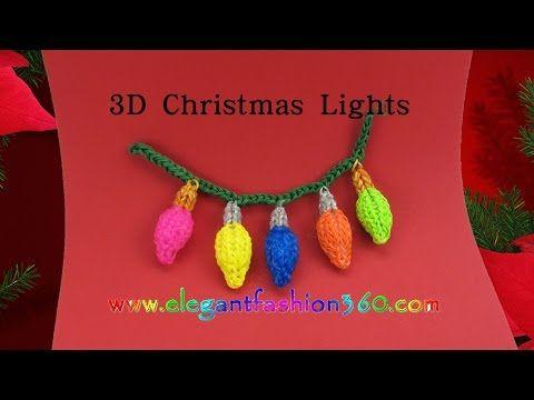 Rainbow Loom Christmas Light 3D Charms - How to Loom Bands Tutorial/Christmas/Holiday/Ornaments