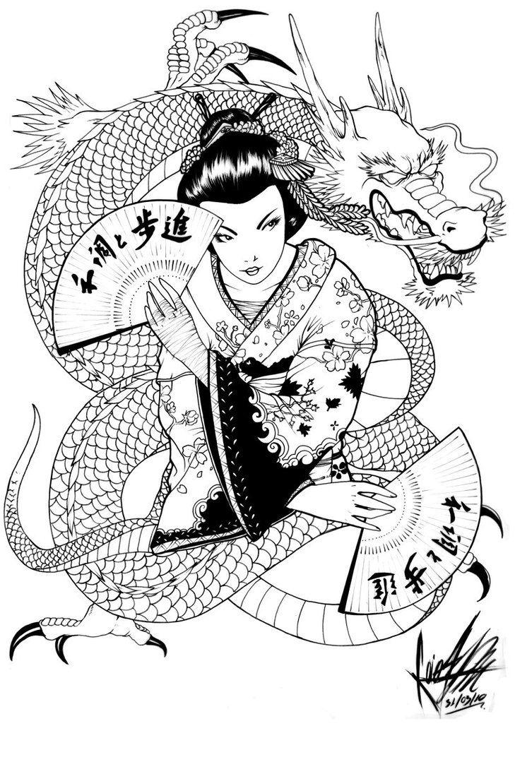 Geisha n Dragon Tattoo Design                                                                                                                                                                                 Más                                                                                                                                                                                 Más
