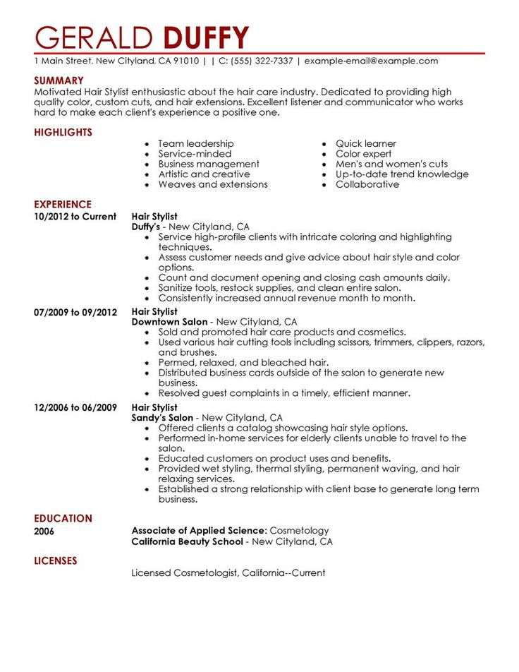 15 best Cover Letter Example images on Pinterest Cover letter - resume for hairstylist