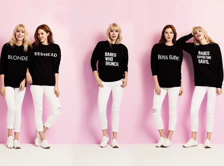 A collection of the cutest ladies rocking our core graphic crewneck sweaters.