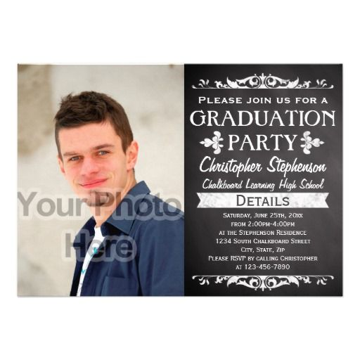 138 best unique graduation invitations images on pinterest grad rustic slate vintage custom graduation party photo invitation filmwisefo