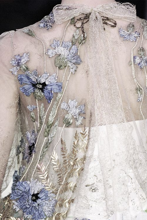 Inspirational exquisite floral embroidery on delicate tulle cups. Photographed: Christian Lacroix Haute Couture beautiful lavender embroidery.