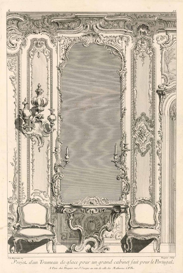 Design by Juste-Aurèle Meissonnier for a grand interior. Engraving published between 1742 and 1748.