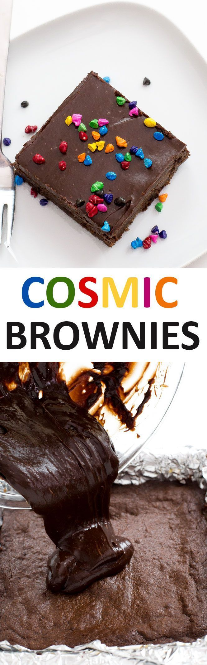 Copycat Cosmic Brownies topped with a Chocolate Ganache and rainbow sprinkles! Super chocolatey, rich and chewy! Just like your childhood favorite. | Chef Savvy