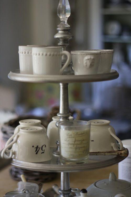 Etagere with Cups #Home #French #Decor www.IrvineHomeBlog.com/HomeDecor/ ༺༺ ❤ ℭƘ ༻༻