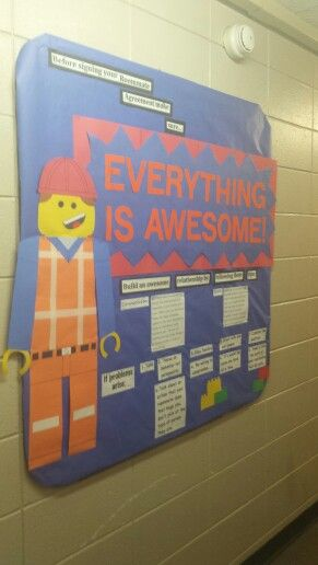 RA Lego Movie bulletin board for dorms. Done before residents sign roommate agreements. UW Oshkosh!!!