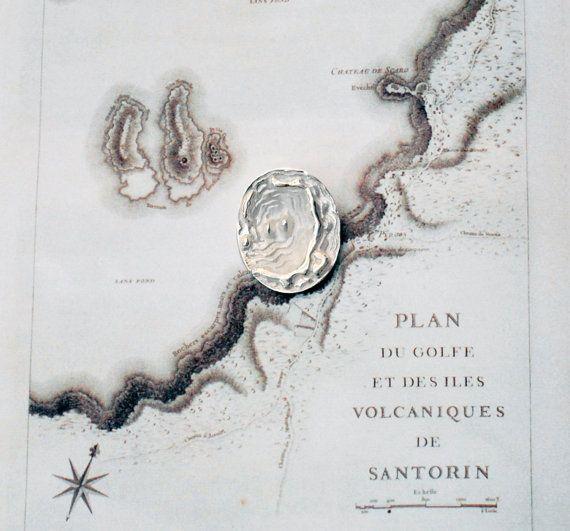 Santorini Map Unisex Necklace Sterling Silver by SunSanJewelry, $120.60