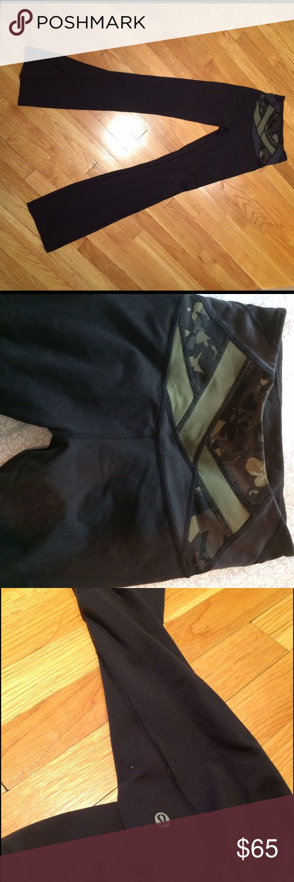 "lulu lemon yoga pants Size two tall yoga pants that have been hemmed to fit the ""regular"" height size. Gently used with a camo waistline! Super comfortable! lululemon athletica Pants Leggings"