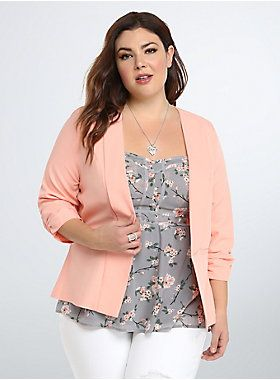 """<p>The desk-duty staple - the blazer - gets a much needed upgrade. This cutaway open front design flatters any figure, while the apricot hue and ruched sleeves make you the star of any office gossip (the good kind). Faux welt pockets finish off the look.</p> <p> </p> <p><b>Model is 5'9"""", size 1</b></p> <ul> <li>Size 1 measures 27 5/8"""" from shoulder</li> <li>Polyester/rayon/spandex</li> <li>Wash cold, dry low</li> <li>Imported plus size blazer</li> </ul>"""