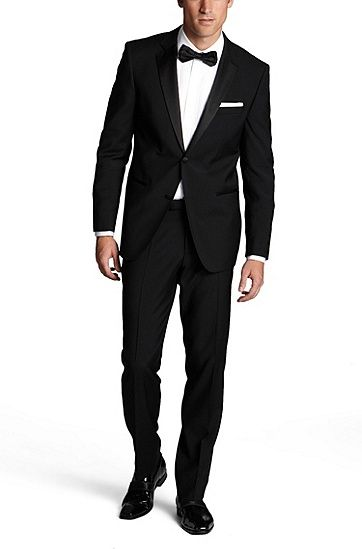 'Stars/Glamour ' | Regular Fit, Virgin Wool Notched Lapel Tuxedo, Black