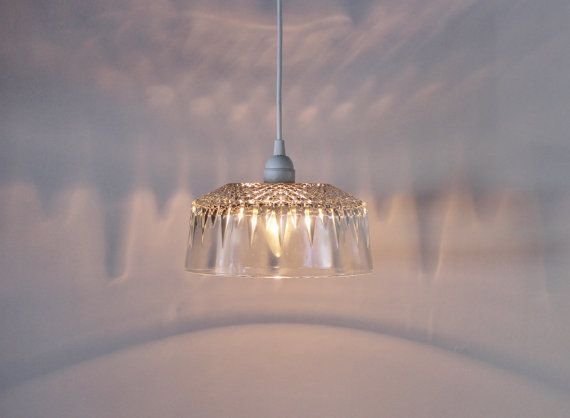 SUNBURST - Upcycled Hanging Pendant Lamp Featuring a Vintage French Arcoroc Serving Bowl Shade - BootsNGus Modern Home Lighting and Decor