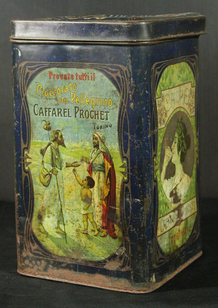 Scatola Latta Cioccolato Pellegrino Caffarel Prochet Vintage Cm31x18x18 Original