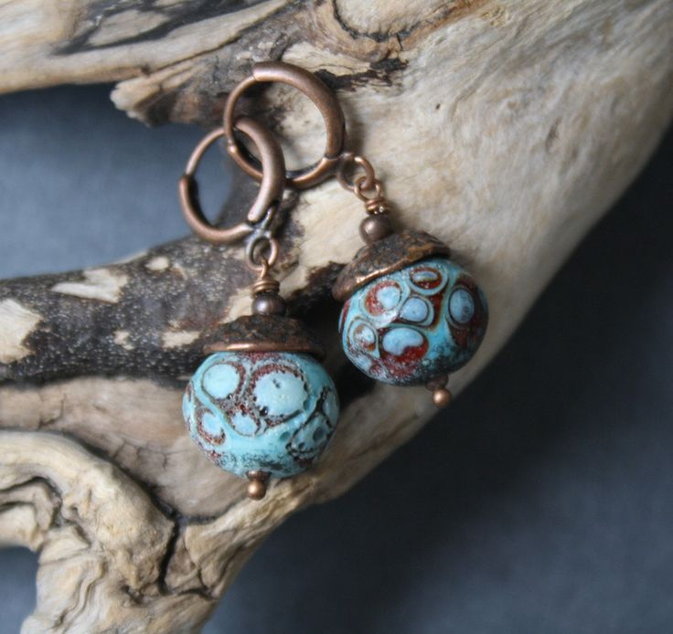 Glass Acorn Earrings - Turquoise Red Color - Porous Matte Surface by…