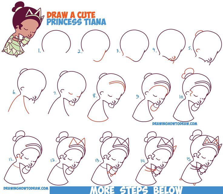 how to draw cute cartoon disney princesses steps