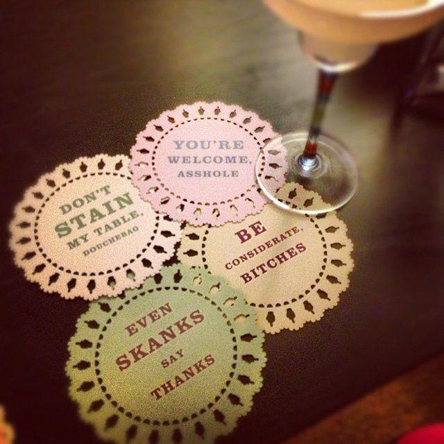Indelicate Doily Coasters @Amanda Snelson Evans