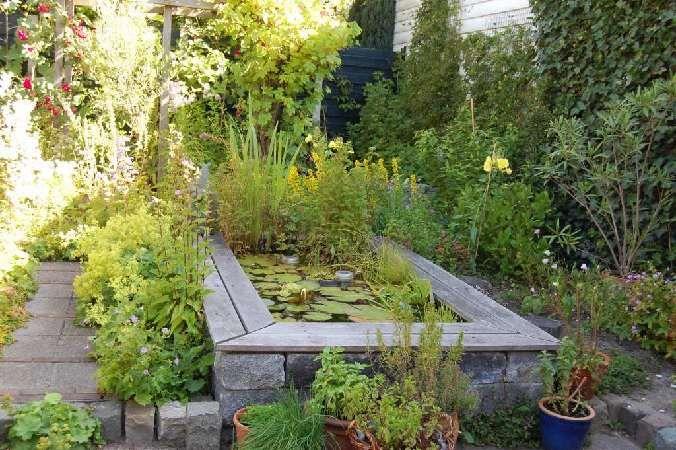 Ontwerp: Weelderige tuin met verhoogde vijver