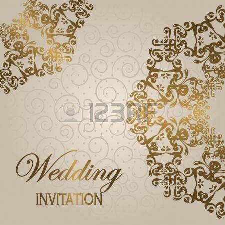 arabesque: Стильные свадебные приглашения с круглой кружевной узор на светлом фоне с завитками Иллюстрация