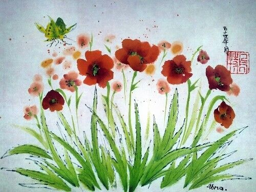 Poppy with butterfly -  Mohn mit Schmetterling#Chinese brush paints