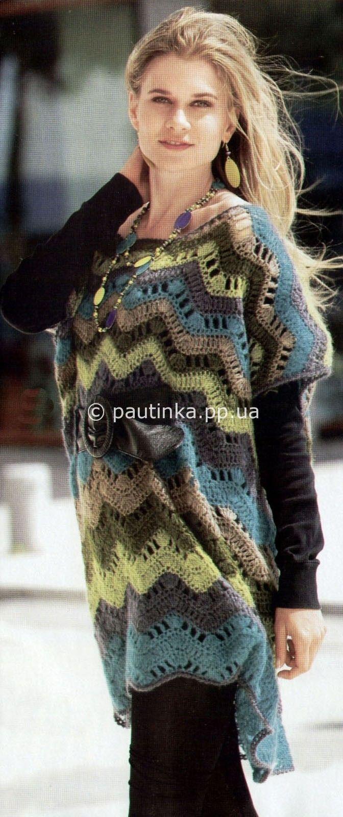 Полосатая кружевная туника | Вязание спицами, крючком, схемы вязания