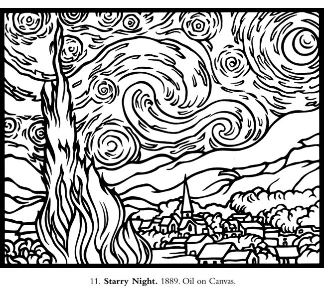 Van Gogh Stained Glass Coloring Book Van Gogh Gogh Coloring Page