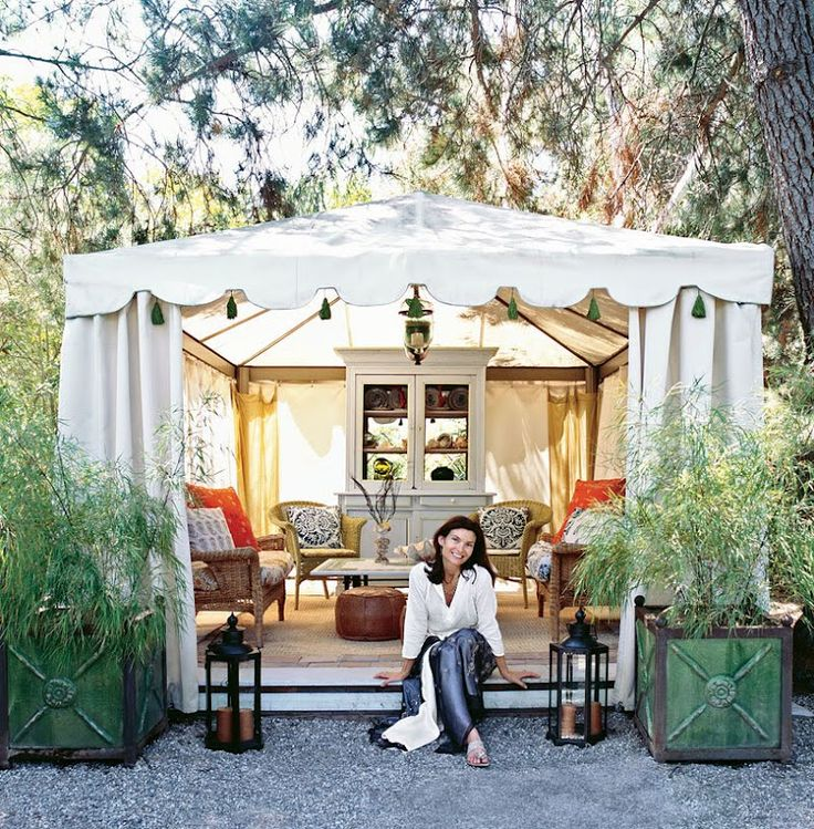Yep. I am officially obsessed with the idea of a backyard tent. On a platform.