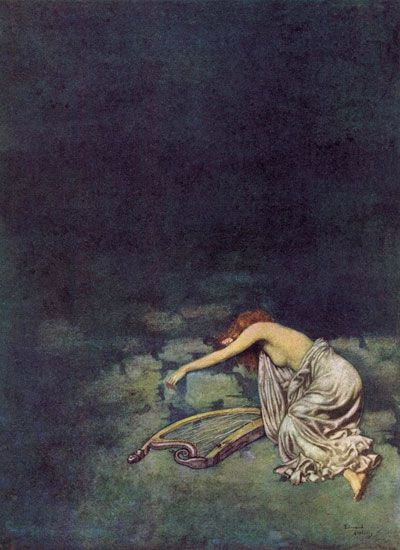 Silence, Edmund Dulac.  Again, the divine feminine voice as symbolized by the harp is silenced.  Is she bereft or dead?