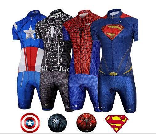 Superhero Superman Spiderman Captain America Short Sleeve Cycling Jersey bike clothing Set 12 style #Affiliate