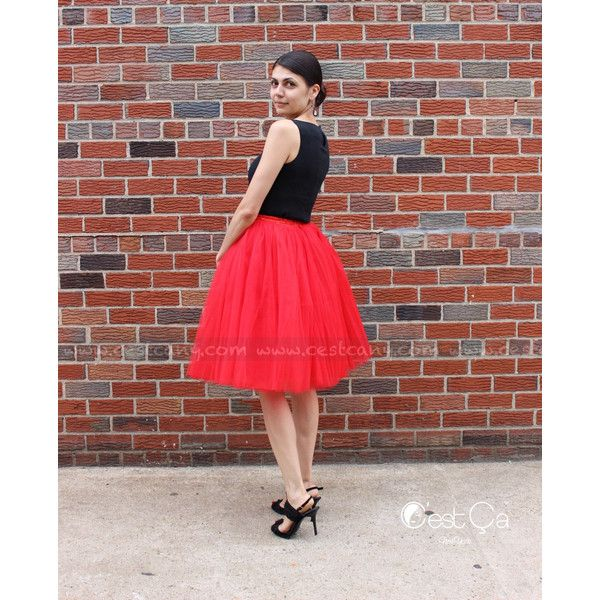 Clarisa Red Tulle Skirt 7-Layers Bright Coral Red Puffy Princess Tutu... ($89) ❤ liked on Polyvore featuring skirts, black, women's clothing, red tutu skirt, short skirts, knee length tulle skirt, red tulle skirt and red tutu