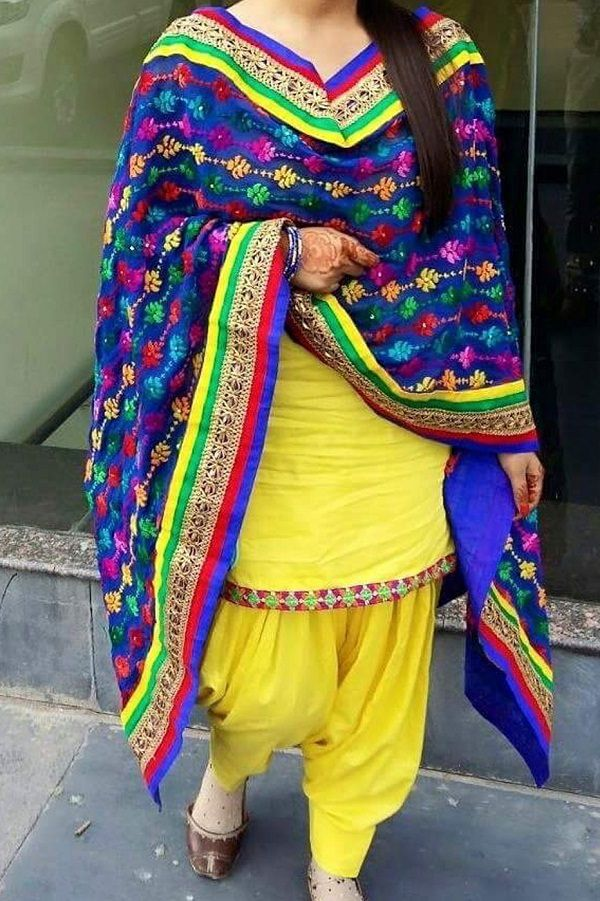 Yellow Embroidered Patiala Salwar Suit Material