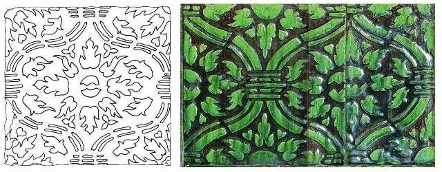 Céramique de poêle alsacien ancien - Nice pattern ! Ceramic of old Alsatian stove