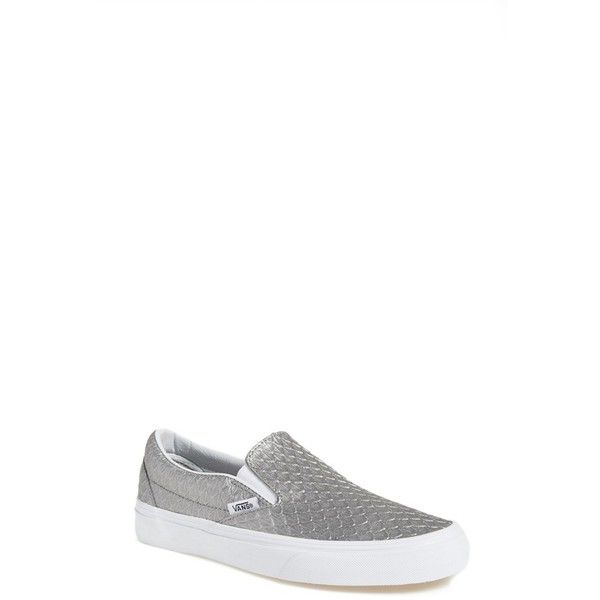 Women's Vans 'Classic' Slip-On Sneaker ($43) ❤ liked on Polyvore featuring shoes, sneakers, new wild dove, vans trainers, vans sneakers, slip on trainers, vans shoes and pull on shoes