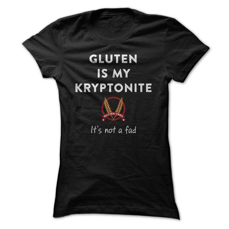 Gluten is my Kryptonite Gluten-Free Celiac T Shirt | Raise awareness of your gluten-free lifestyle with this T shirt, buy it at http://shirtminion.com/gluten-free-tshirt