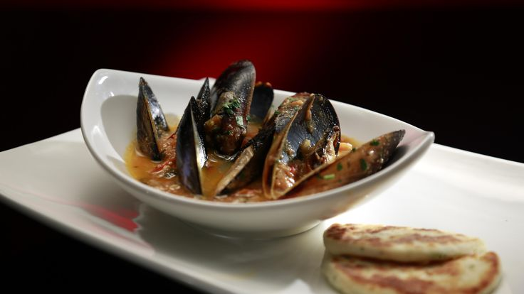 Helena and Vikki's Mussels Saganaki with Dill Pita Bread: http://gustotv.com/recipes/lunch/mussels-saganaki-dill-pita-bread/