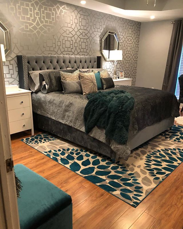 Chic Interiors by Shante' is sharing gray and teal bedroom vibes on Instagram.  She used our Tea House Trellis in a metallic on her accent wall and we love it!    Buy the Tea House Trellis Stencil: http://www.cuttingedgestencils.com/tea-house-trellis-allover-stencil-pattern.html