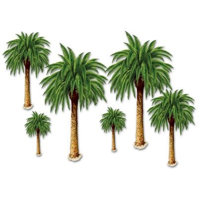 Decorate a luau party with these Palm Tree Props. They can be combined with the Blue Sky and Ocean Backdrop to convert a whole room into a tropical island.