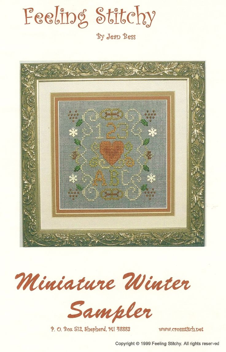 Miniature Winter Sampler. Rainbow Gallery and Krenik products. The four seasons are uniform in size but use different blue Wichelt product cross stitch fabric.