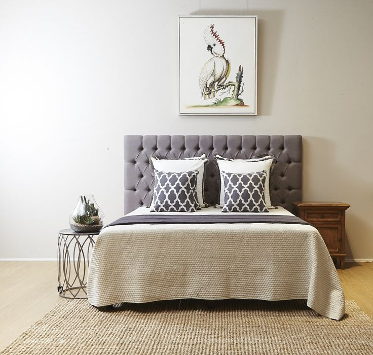 The Valentina grey bedhead can be purchased online or in store. Comes in King and Queen size.