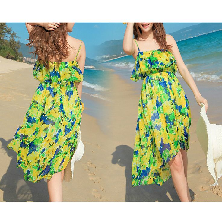 Women Cheap Long Chiffon Summer Beach Casual Holiday Dress 03832 Size 8 10 12 14