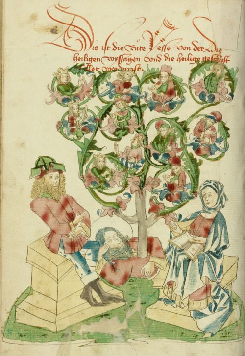 'The Tree of Jesse' (1469) from the Workshop of Diebold Lauber (German, active 1427 - 1467) .  Ink, coloured washes and tempera.  Image and text courtesy The Getty.  •  This image is available for download, without charge, under the Getty's Open Content...