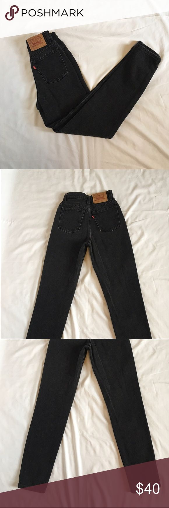 "Black Levi's Jeans Black, slim fit, tapered leg. Made in USA. Size 3. Waist: 24"", Hips: 33"", Inseam: 29"", Ankle: 5.5"" Levi's Jeans Straight Leg"