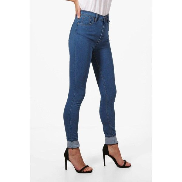 Boohoo Jess Extreme Cuff Skinny Jeans (41 CAD) ❤ liked on Polyvore featuring jeans, super skinny jeans, slim straight jeans, ripped boyfriend jeans, high waisted boyfriend jeans and high-waisted skinny jeans