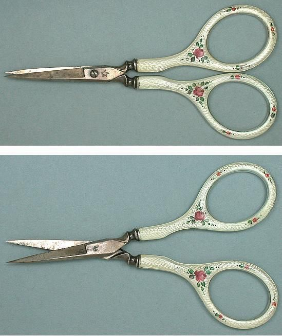 Guilloche Rose Silver Embroidery Scissors - Circa Early 1900s