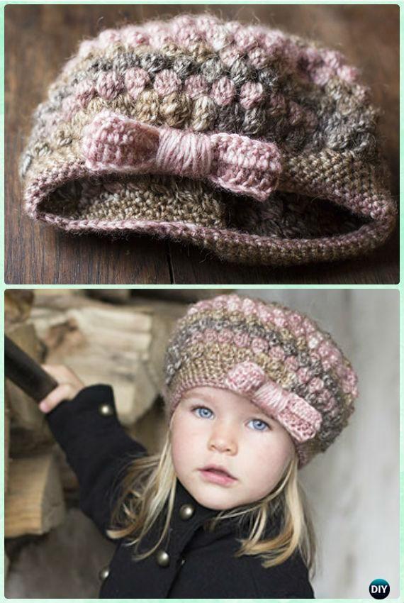 Crochet Puff Stitch Bow Hat Free Pattern Instruction- #Crochet Beanie Hat Free Patterns