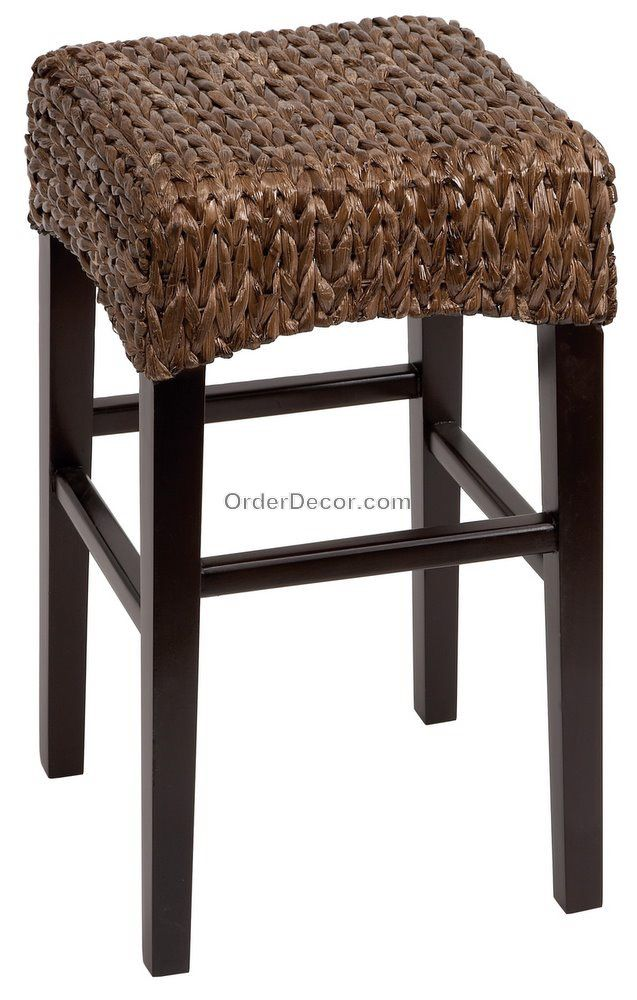 24 Quot Brown Wood Amp Wicker Counter Bar Stool Rush Seat